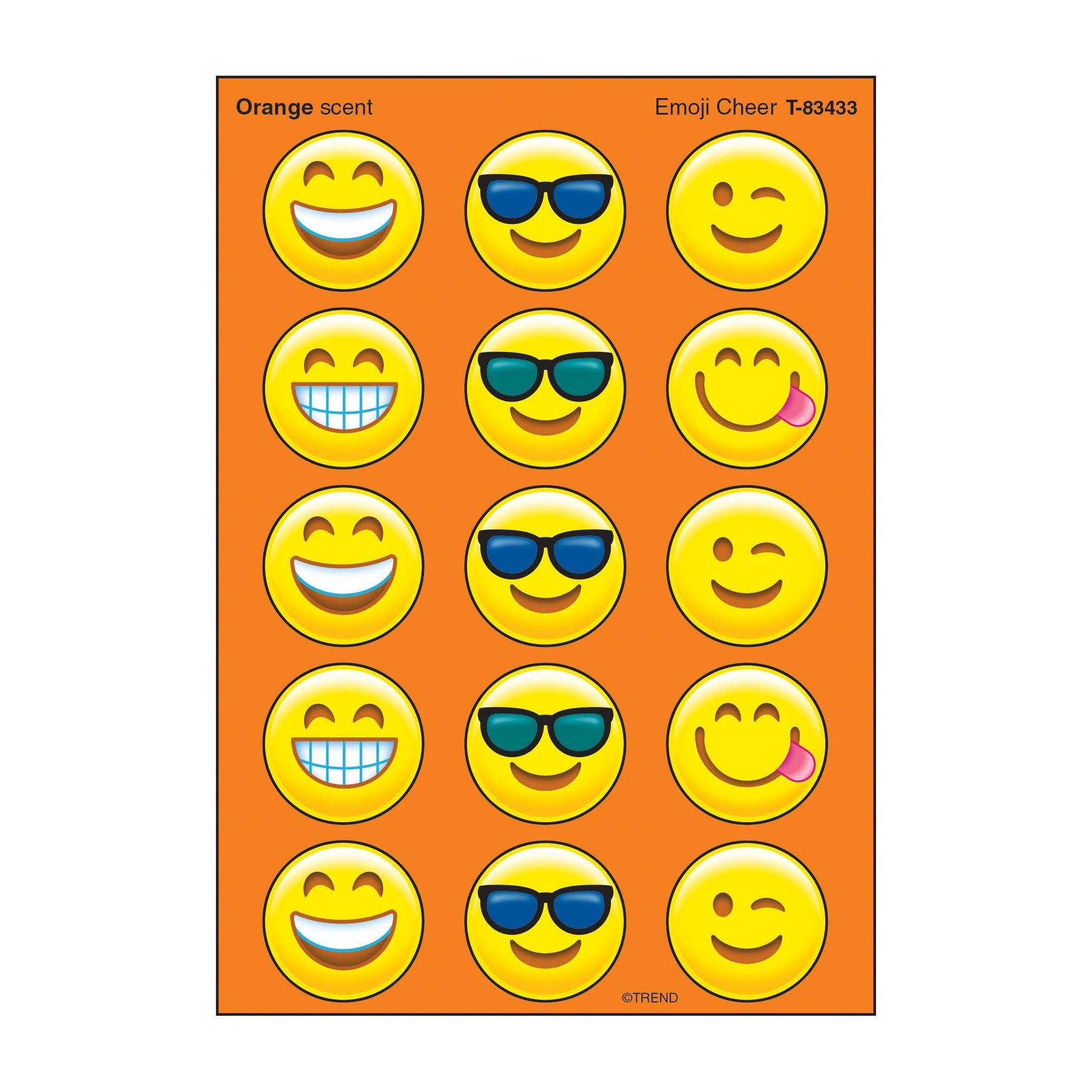 Emoji Cheer, Orange scent Scratch 'n Sniff Stinky Stickers® – Large Round