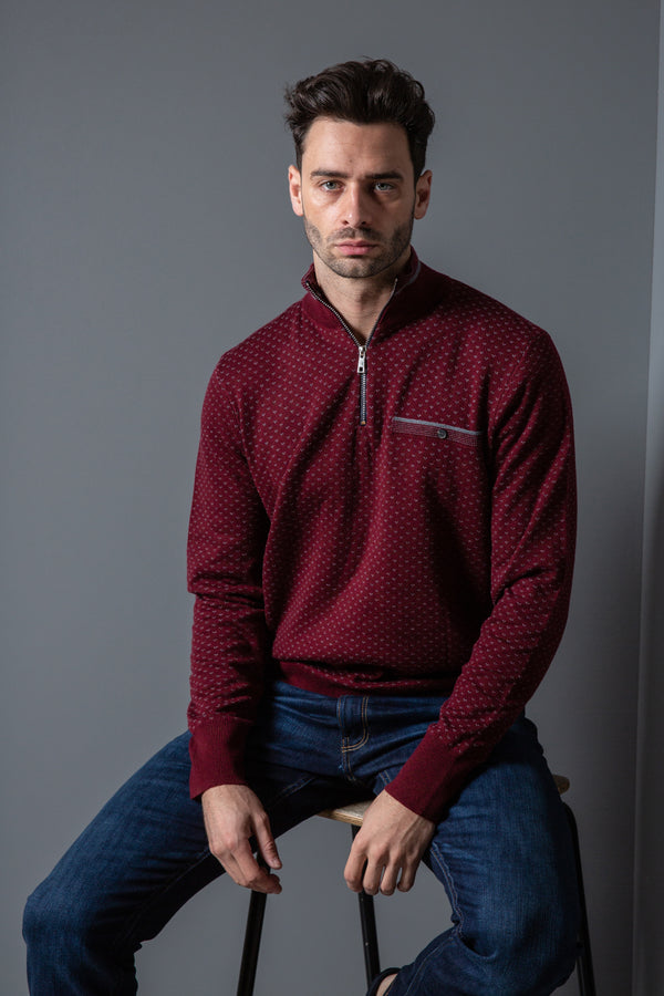 Mens Funnel Neck Zip Jacquard Design Jumper