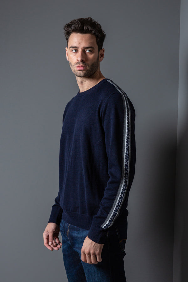 Mens Side Stripes Crew Jumper