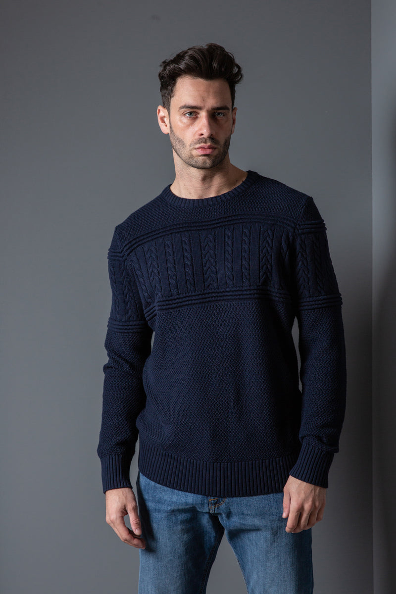 Mens Cable Crew Neck Sweater