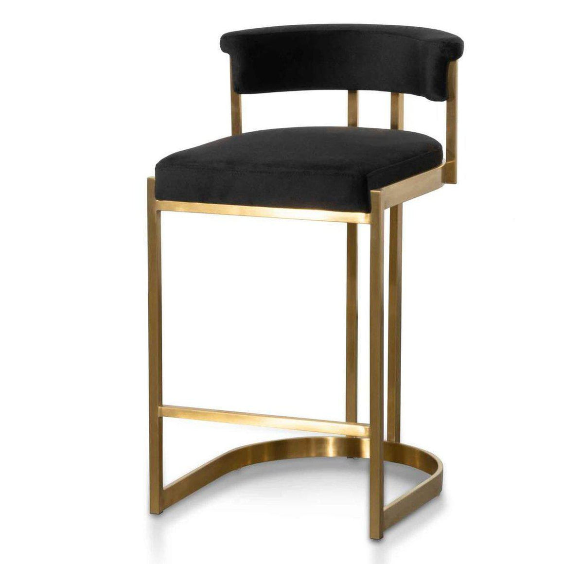 Adela Black Velvet Bar Stool With Gold Base-SAVA & CO