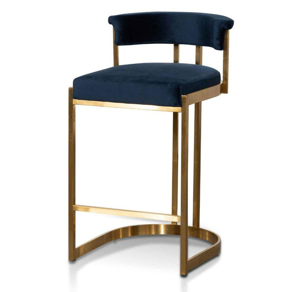 Adela Indigo Velvet Bar Stool with gold frame SAVA & CO