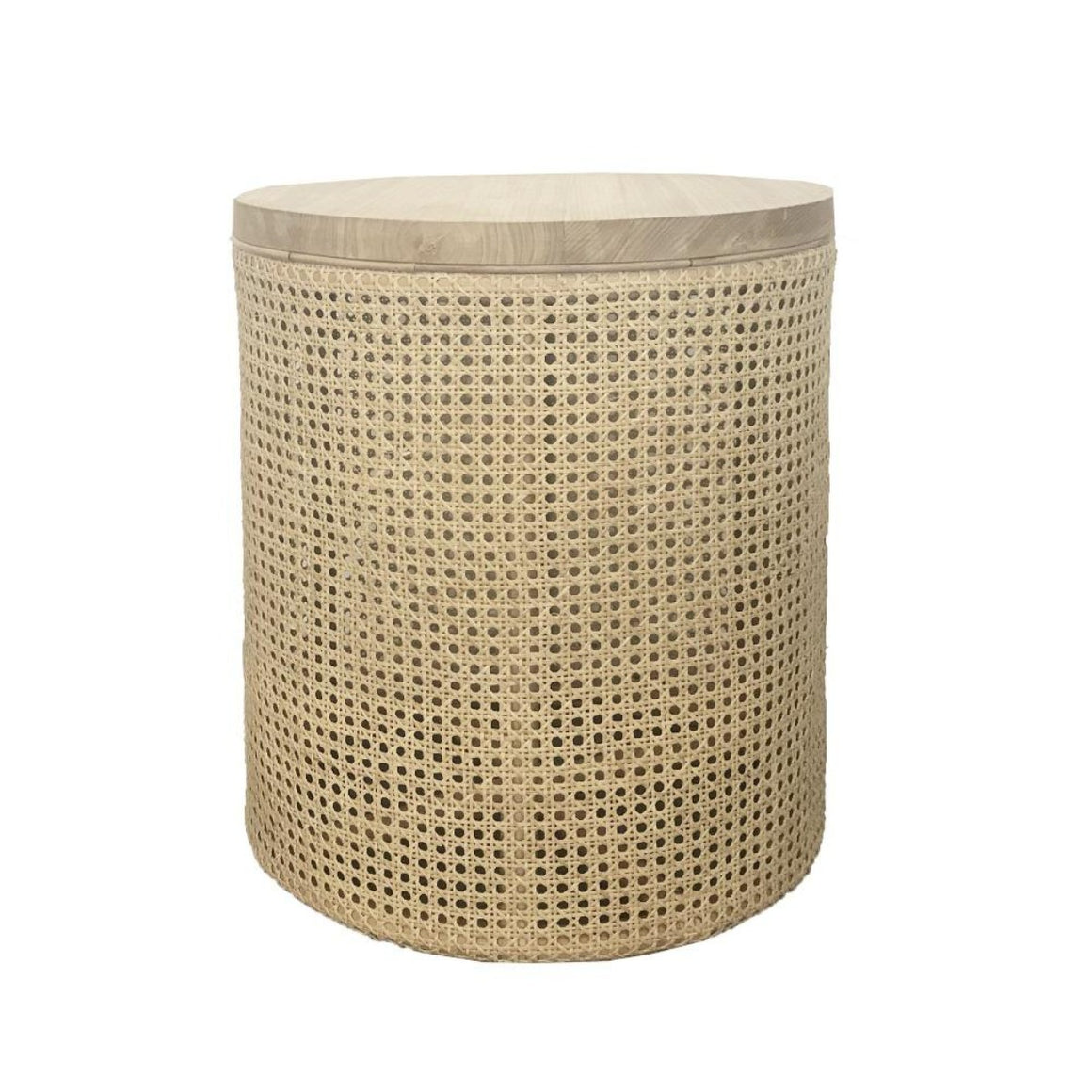 Zoe round wood & rattan Side Table MRD Home