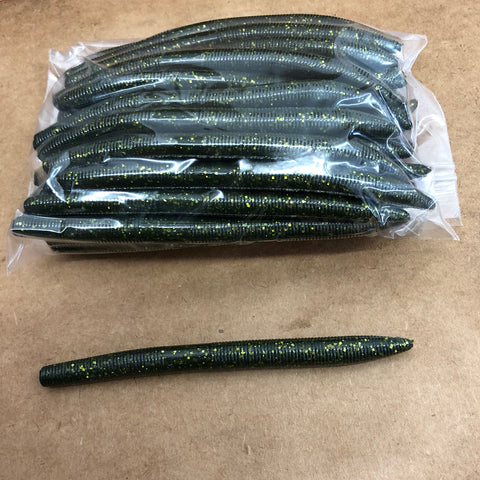 40ct STICK WORM Bulk Bag (Green Gold Flake)