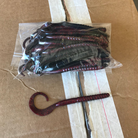 "50ct 7"" Ribbon Tail BULK BAG (Blood Black)"