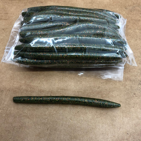 40ct STICK WORM Bulk Bag (Green Bronze Black)