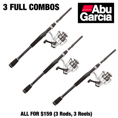 (THREE SPINNING COMBOS) ABU GARCIA SILVER MAX ROD & REEL