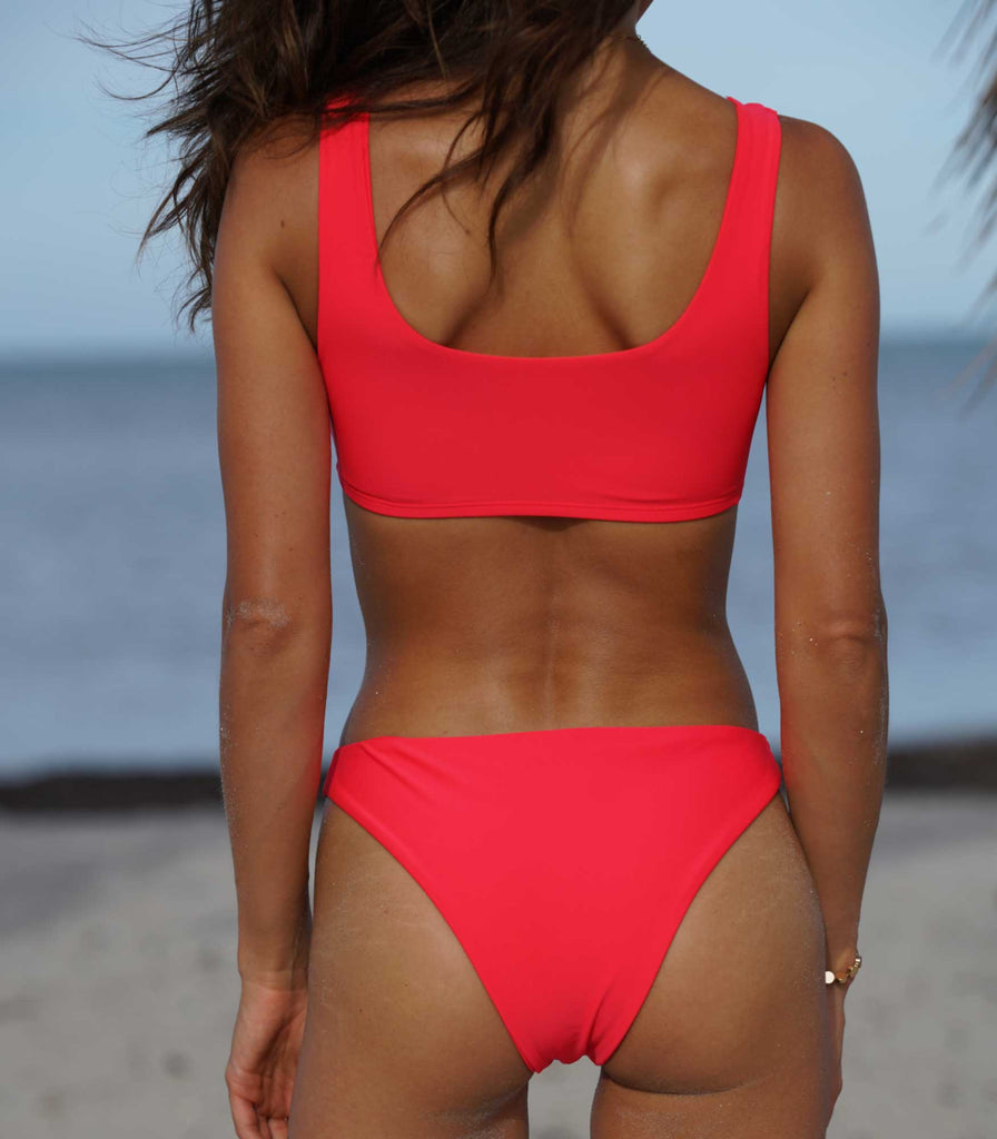 Bali Bottoms Poppy Red - Trukini Swimwear @trukiniswim trukini.com