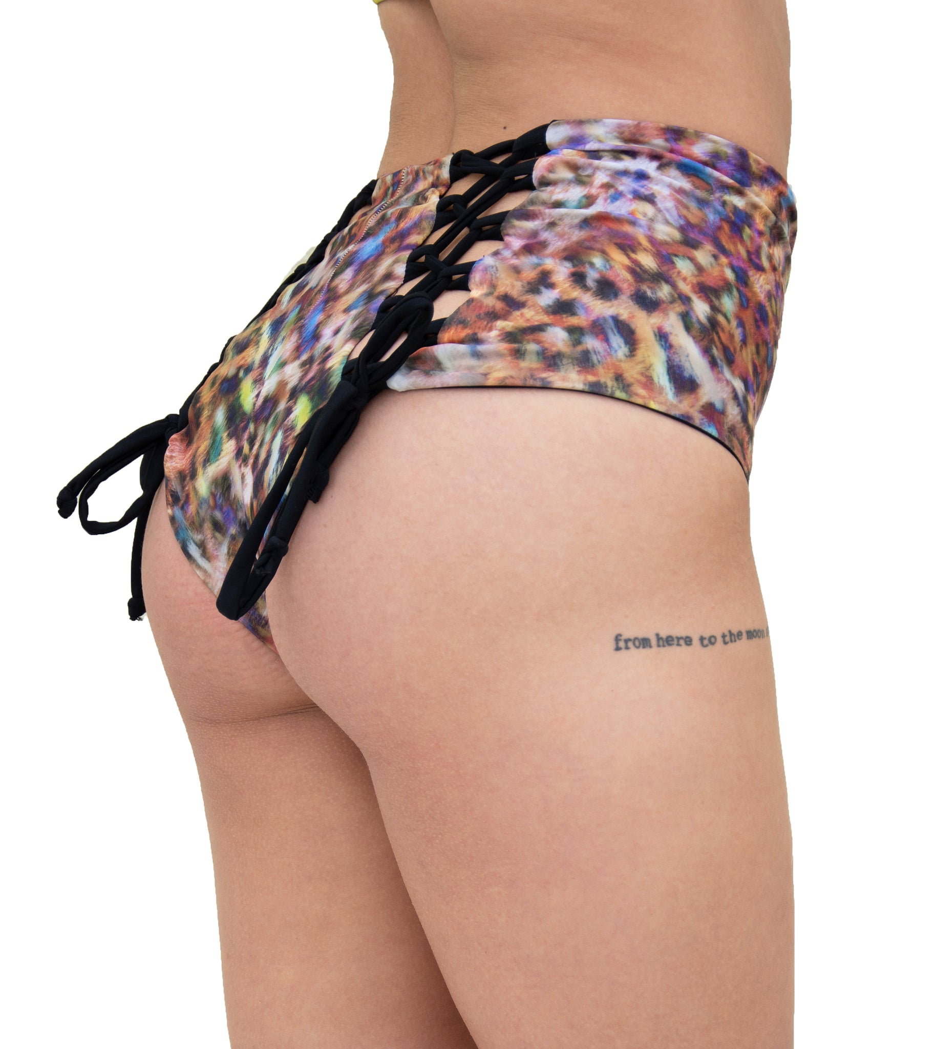 Hollywood High Waisted Short - Reversible Black & Colorful Kitty