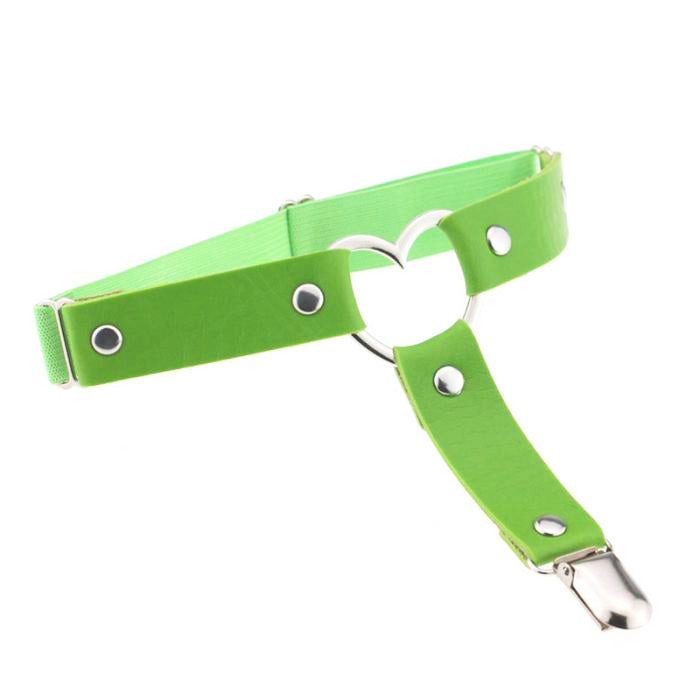 Heart Leg Garter - Lime Green