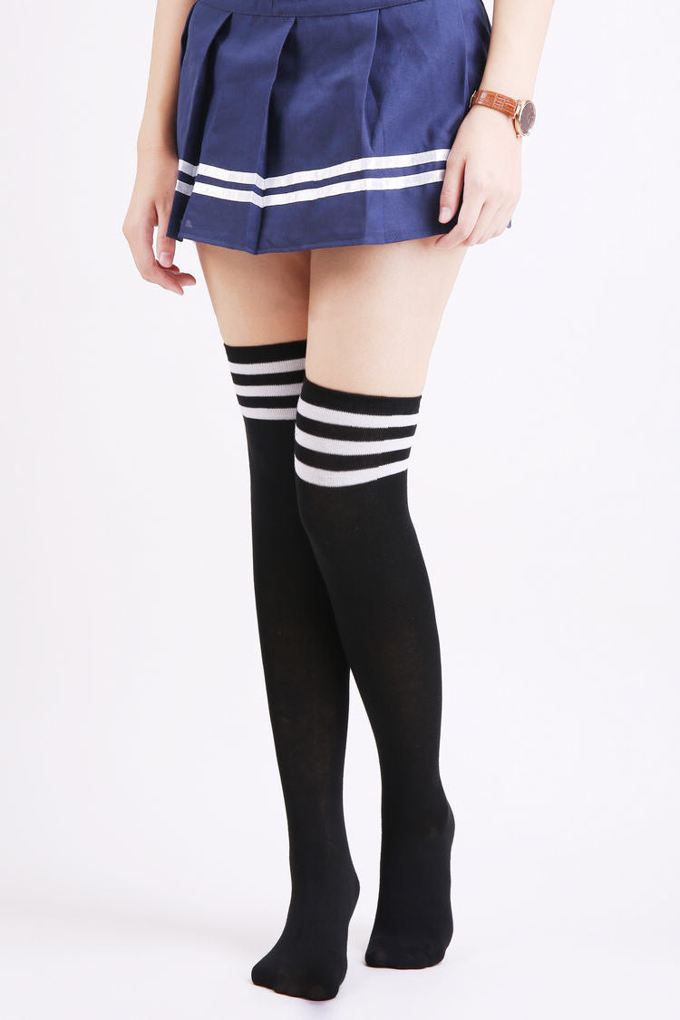 Thigh High Socks - Black with Stripes