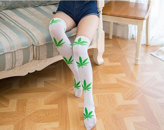 Thigh High Socks - White with Green Leaves
