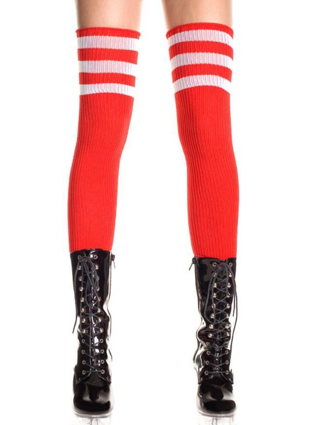 Thigh High Socks - Red with White Stripes