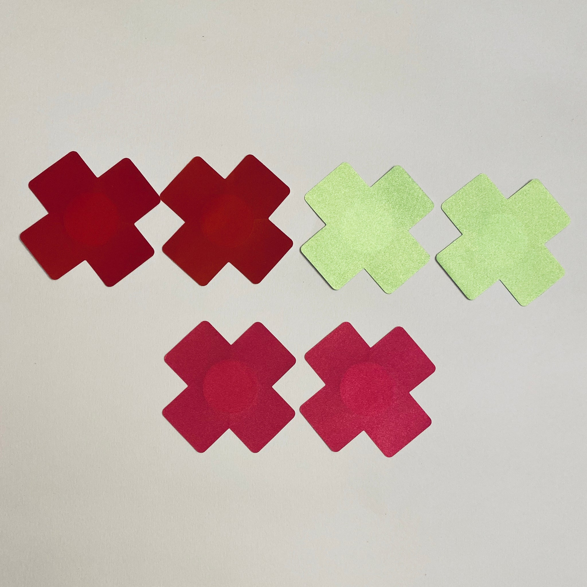 X Pasties - 3 Pack Lime Green, Red & Bright Pink