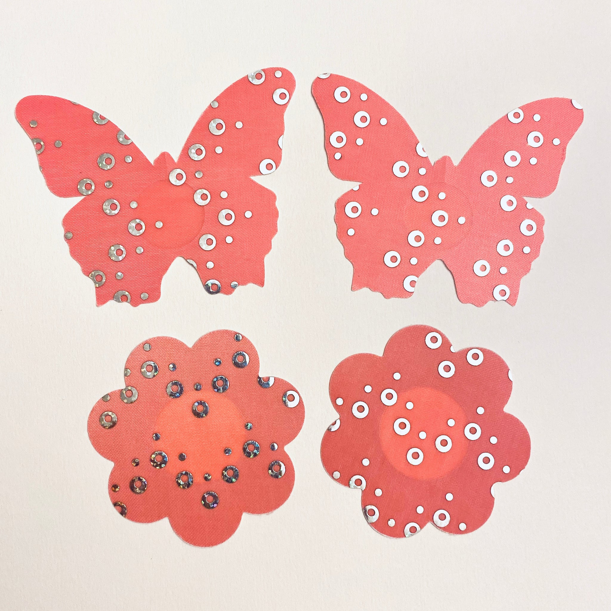 Pink Sequins Pasties - 2 Pack Butterfly & Petals