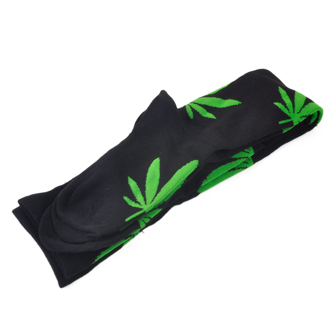 Thigh High Socks - Black with Green Leaves