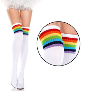 Thigh High Socks - White with Rainbow Stripes