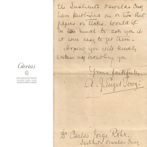 Carta manuscrita do British Museum para o Instituto Oswaldo Cruz (1910)