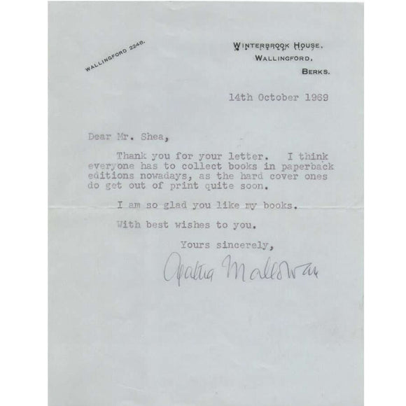 Carta assinada por Agatha Christie (1969)