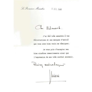 Carta assinada por Jacques Chirac (1986)