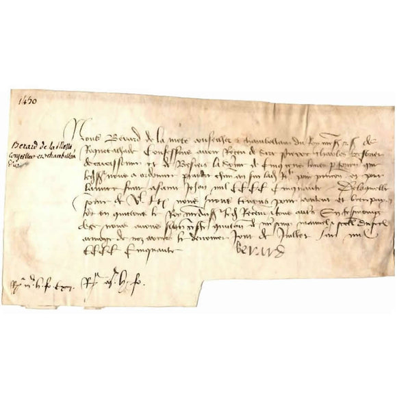 Bilhete manuscrito do ano 1450