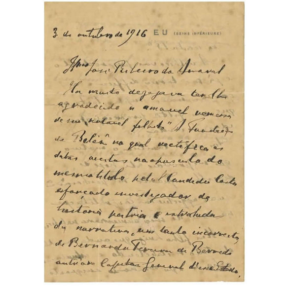 Carta manuscrita do Conde d´Eu (1916)
