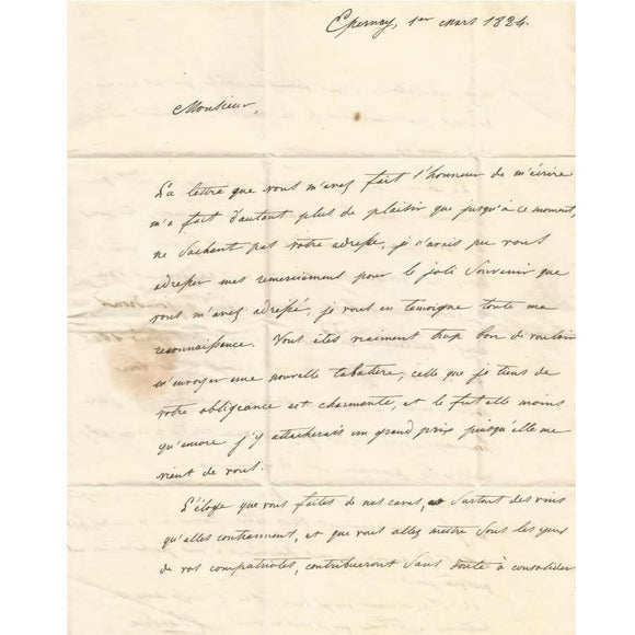 Carta manuscrita de Pierre-Gabriel Chandon (1824)