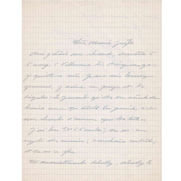Carta manuscrita de Simone de Beauvoir