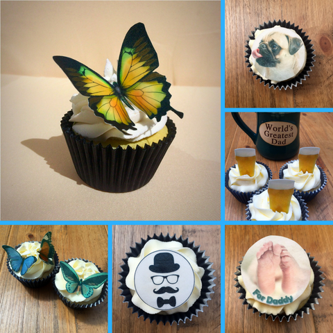 a selection of edible cupcake toppers from the village cake company