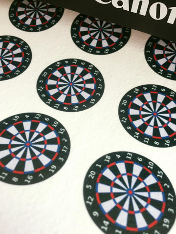 Edible dartboard cupcake toppers
