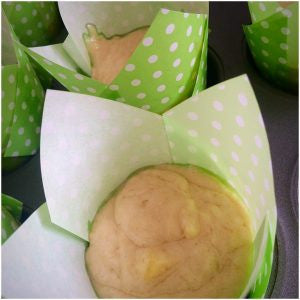 Fill the muffin cases about 2/3 full.