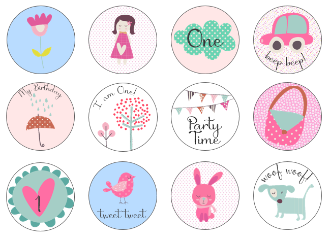 Girls birthday cupcake toppers set of 12