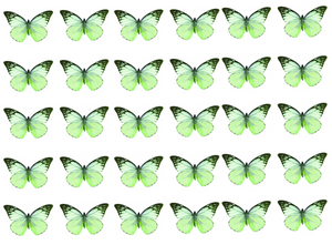 Mixed green edible wafer butterflies