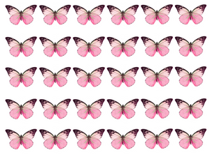 Mixed pink edible wafer butterflies
