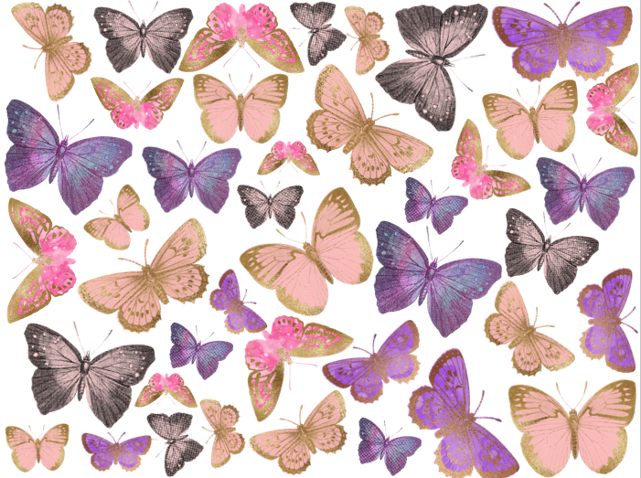 Pink Purple and Gold edible butterflies made from wafer paper