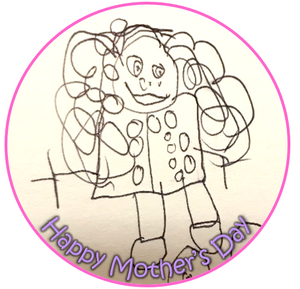 Large edible cake topper with childs drawing for mothers day