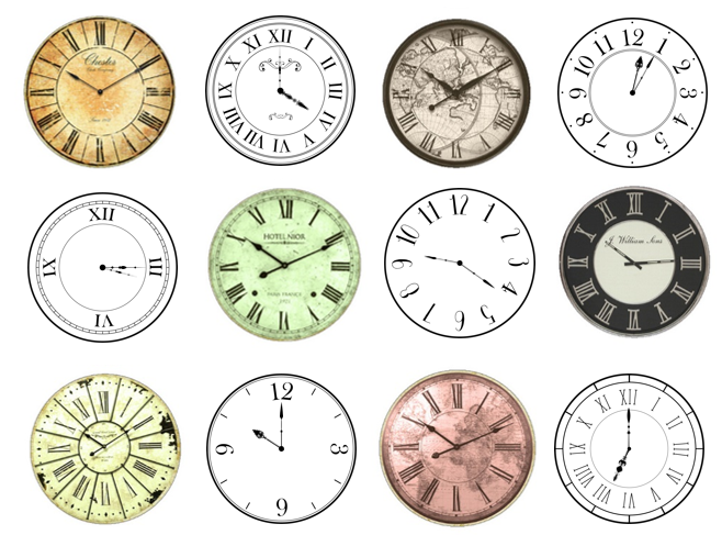 Clocks Cake Picks printable