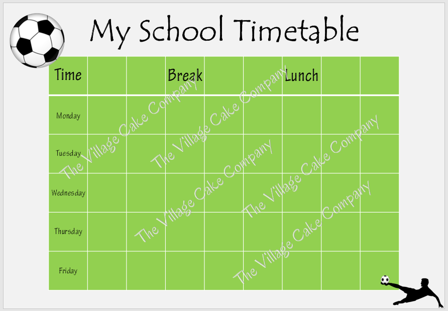 Printable Football School Timetable