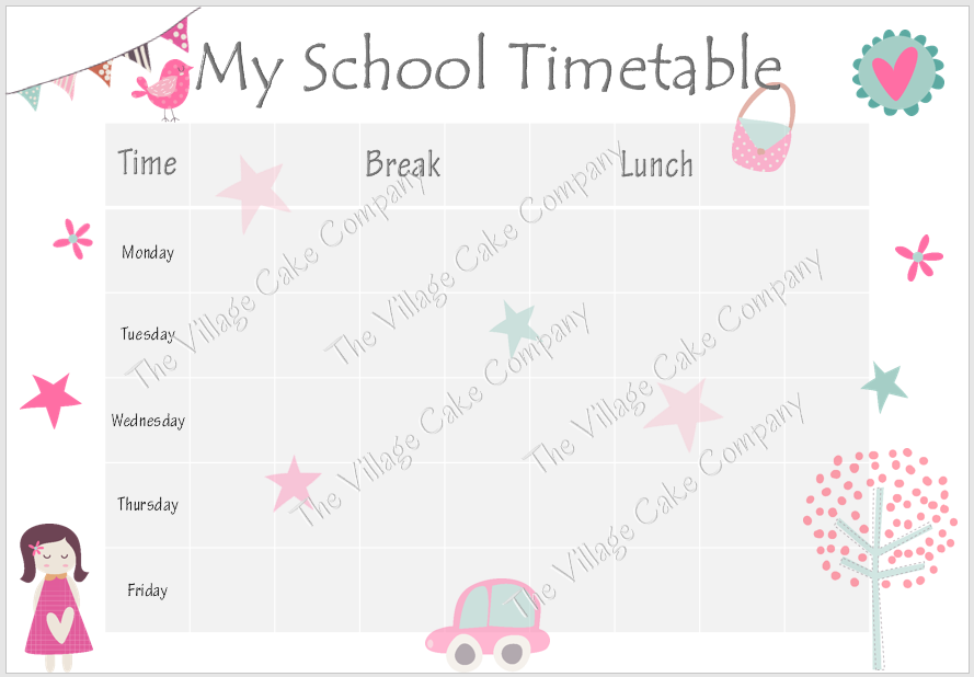 Printable school time table