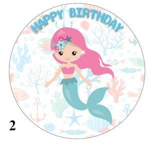 Mermaid design cake topper pink hair