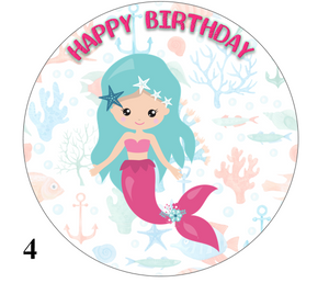 Mermaid design cake topper blue hair