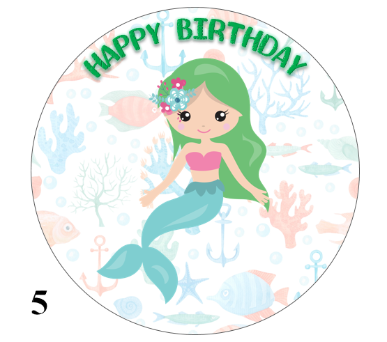 Mermaid design cake topper green hair
