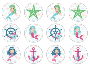 Mermaid design cupcake toppers set of 12