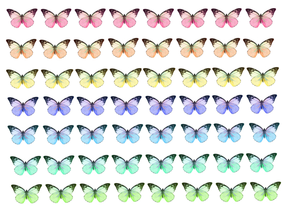 small mixed pastel coloured butterflies made from edible paper