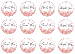 Edible cupcake toppers with 'thank you' set of 12