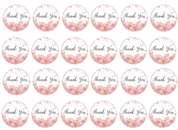 Edible cupcake toppers with 'thank you' set of 24
