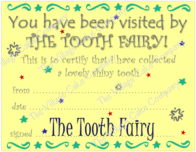 Tooth Fairy Certificate printable