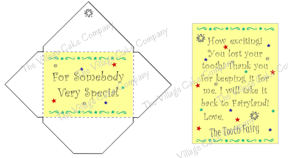 Tooth Fairy Mni Letter and Envelope printable
