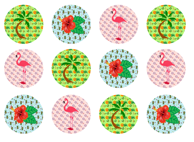Hawaiian Cake Toppers UK | Tropical Edible Cupcake Toppers | Set of 12