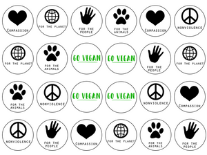 Vegan slogan edible cupcake toppers 24
